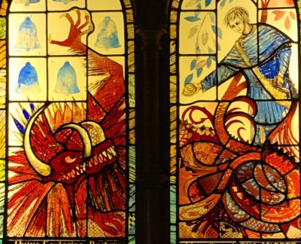 Lyminster Knucker in the church of St Mary Magdalene, Lyminster. Window by Caroline Beyton